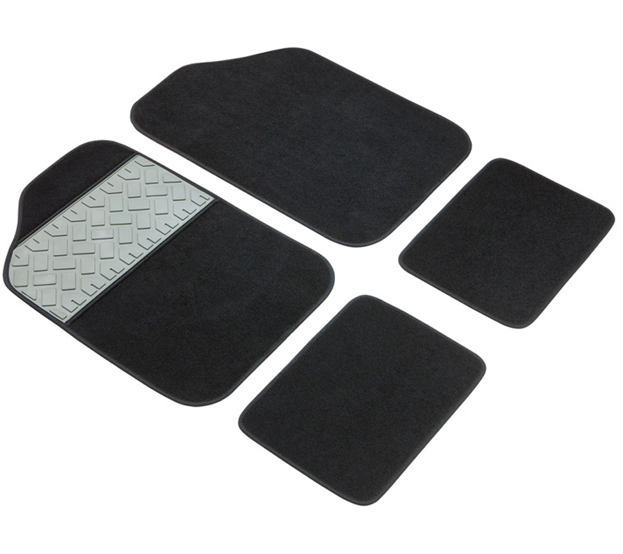 velours tapis voiture lot de 4 pi ce carrefour noir type universel tapis sol. Black Bedroom Furniture Sets. Home Design Ideas